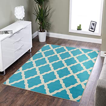 """Silk Road Concepts Collection Contemporary Rugs, 3'3"""" x 5', Blue"""