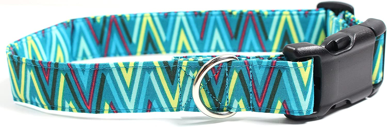 Rainforest Chevron, Teal Designer Cotton Dog Collar, Adjustable Handmade Fabric Collars (M)