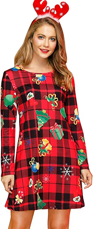 Cute dress for Christmas party, Red Christmas dress with festive design, womens long sleeve dress