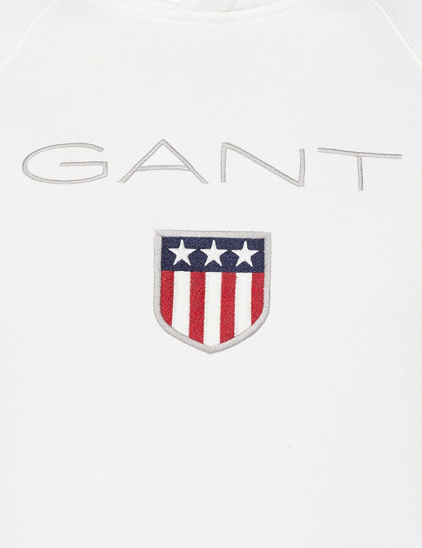 GANT Shield Hoodie Sweat-Shirt de Sport à Capuche Homme Blanc (Eggshell 113)