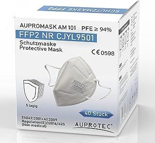 AUPROTEC 40 Stück FFP2 Maske Aupromask AM-101 Atemschutzmaske EU CE 0598 Zertifiziert EN149:2001+A1:2009 Mundschutz 5 lagi...