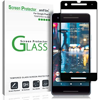 amFilm Glass Screen Protector for Google Pixel 2, Tempered Glass