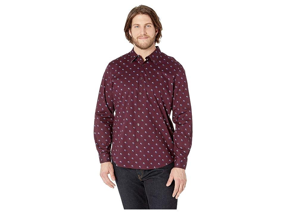 Perry Ellis Mini Linear Print Stretch Shirt (Winetasting) Men
