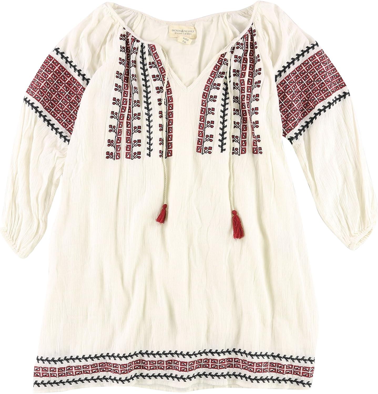 Ralph Lauren Womens Embroidered Texture Shift Dress