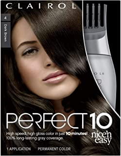 Clairol Perfect 10 By Nice 'N Easy Hair Color 004 Dark Brown 1 Kit (Pack of 2) (PACKAGING MAY VARY)