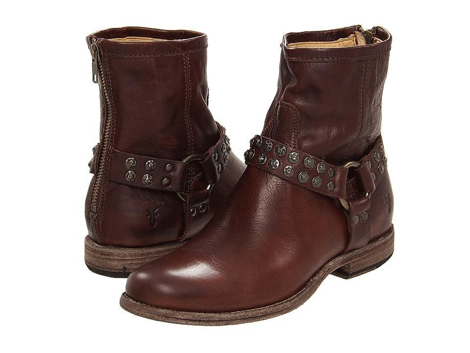 Frye Phillip Studded Harness (Dark Brown Soft Vintage Leather) Women