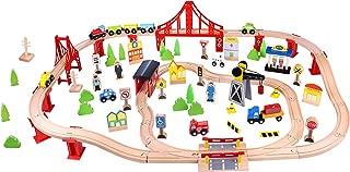 Fat Brain Toys Wooden Express 100 Piece Train Set