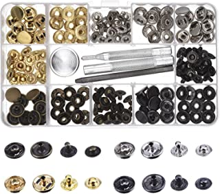 Outus Copper Snap Fasteners Press Studs No Sewing Clothing Snaps Button 39 Set with Fixing Tool for Fabric, Leather Craft (12 mm)