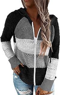 GOLDPKF Damen Farbblock Kapuzenpullover Gestreift Hoodie Entspannt Sweatshirt mit Kapuze