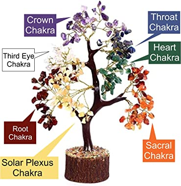Kuhvai Crystals and Healing Stones, Seven Chakra Natural Healing Gemstone Crystal Bonsai Fortune Money Tree for Good Luck, We