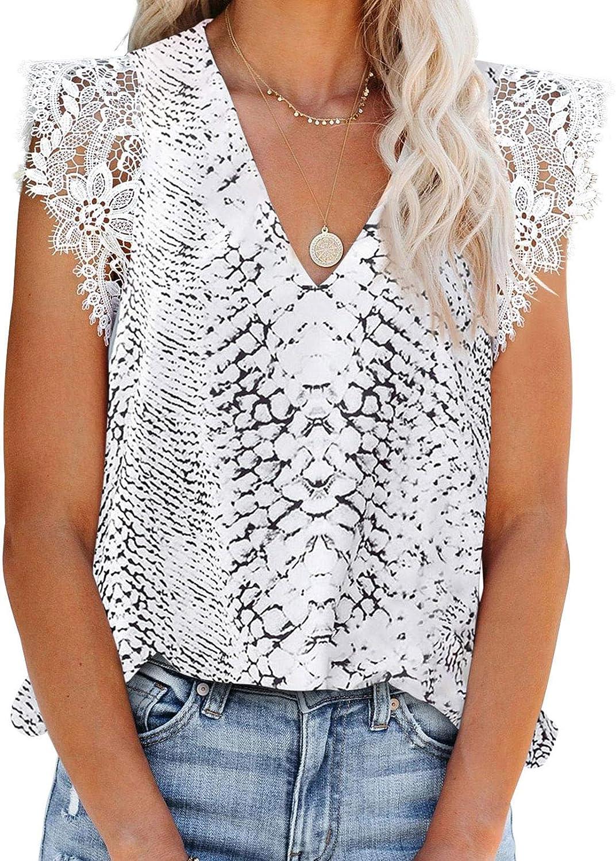 Sidefeel Women Leopard Print V Neck Lace Trim Tank Tops Sleeveless Loose Blouse Shirts