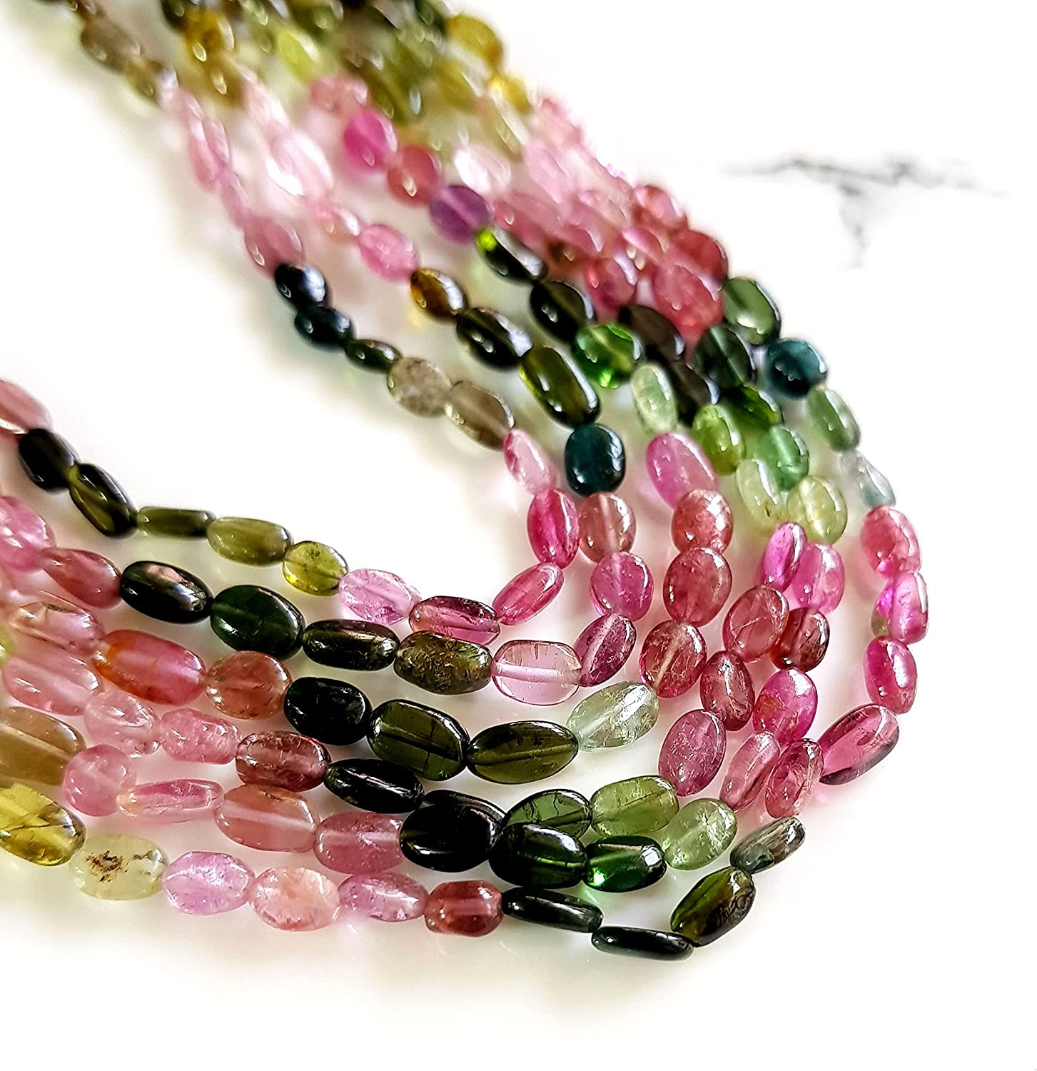 100% Natural Year-end gift Multi Tourmaline Tou Max 85% OFF Beads Oval Gemstone