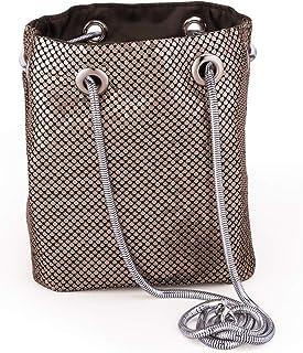 5eff08cecce Mesh Chain Mail Bucket Bag Shoulder Bags crossbody bag for Women Metal Mesh  Evening Handbags Clutch