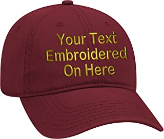 Custom Text Embroidered Dad Hat Unstructured Soft Cap Adjustable Metal Buckle
