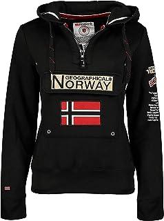 Geographical Norway GYMCLASS Lady - Sudadera para mujer, con capucha y bolsillos canguro, manga larga, informal y cálida, ...