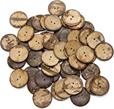 Monrocco 50 pcs Natural Coconut Shell Buttons 1.58 Inch 40MM Coconut Buttons for Sewing DIY Crafts 2 Hole Craft Sewing Buttons