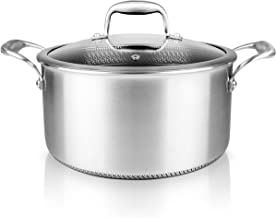 5 QT Stainless Steel Stew Pot - Triply Kitchenware Stew Pot with Glass Lid - DAKIN Etching Non-Stick Coating, Scratch-resi...