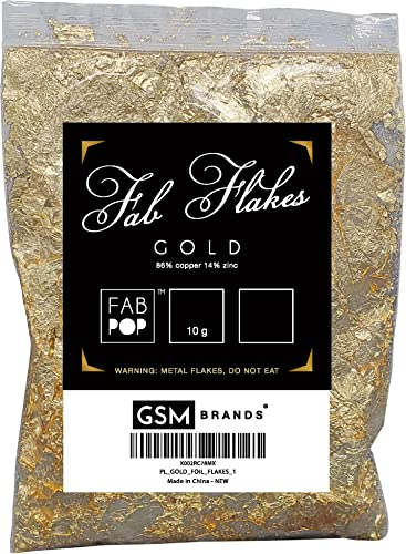 high quality Gold popular Foil Flakes for Gilding: Metallic Leaf or Resin Art Shiny Gold Color, new arrival (10 Grams) sale