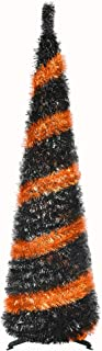 5FT Pop Up Tinsel Slim Trees Easy-Assembly Reusable for Christmas Party Supplies,Collapsible Artificial Pencil Halloween Xmas Thin Tree with Plastic Stand for Fireplace Office Classroom-Black Orange