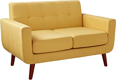 Container Direct Jenny Mid-Century Modern Button Tufted Loveseat, Mustard Yellow