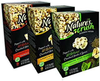 Nature's Crush Natural Microwave Popcorn, Variety Pack of 3 Gourmet Flavors - Light & Zesty Blend, Aromatic Herb Blend, Original 23 Herbs Blend (3 boxes)