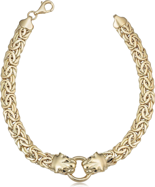 Kooljewelry 14k Yellow Gold Onyx Eye Panther Head Byzantine Brac