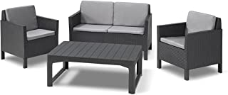 Keter Chicago Lounge Set de Jardín con mesa Lyon y patas regulables, Grafito, 120x80x65 cm