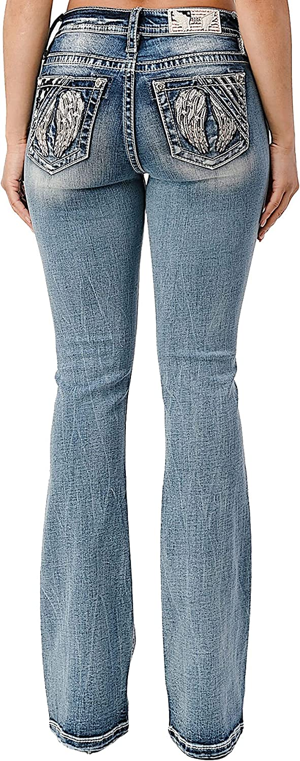 Miss Me Women's Americana Angel Wing Mid-Rise Boot Jeans with Embellishments