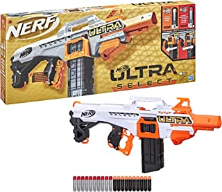 Nerf Ultra Select is een volledig gemotoriseerde blaster met 2 vuuropties, met magazijnen en darts. De blaster kan alleen ...