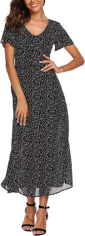 Zeagoo Boho Polka Dots Short Sleeve V Neck Casual Summer Beach Party Chiffon Long Maxi Dress