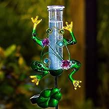 BOAER Solar Powered Rain Gauge Outdoor,Metal Frog Figurine Stake for Garden, LED Lights Glass Tube (Solar Rain Gauge)
