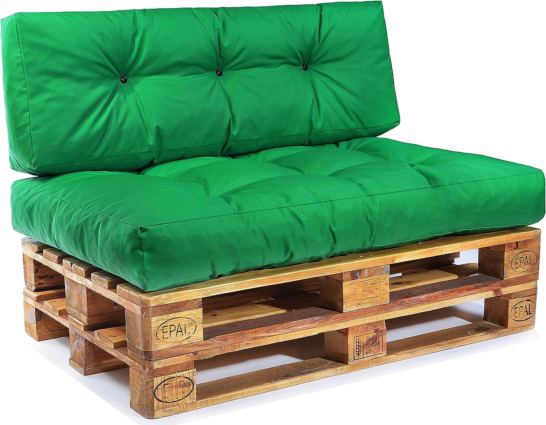 Easysitz Palettenkissen Set Palettensofa Palettenpolster Palettenauflagen Sofa Kissen Polster Auflage Indoor Outdoor Gesteppt für 120 x 80 cm Europaletten (Set 1  Sitzkissen + Rückenkissen - Grün)