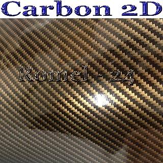 Romel24 [19,71 m²] 30CM X 152CM Folie SELBSTKLEBEND Hochglanz LUFTKANÄLE Carbon 2D SCHWARZ Gold