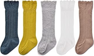 Baby Girls Boys Uniform Knee High Socks Tube Ruffled Stockings Infants and Toddlers (Pack of 3/5)