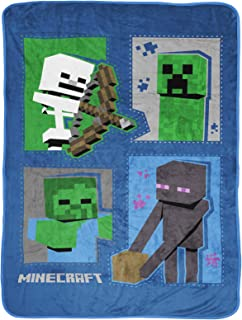 Jay Franco Minecraft Icons Throw Blanket - Measures 46 x 60 inches, Kids Bedding Features...