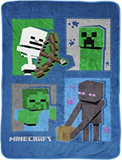 Jay Franco Minecraft Icons Throw Blanket - Measures 46 x 60 inches, Kids Bedding Features Creeper, Enderman, Zombie, Skele...