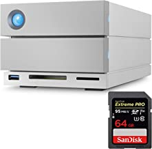 LaCie 2Big Dock RAID Thunderbolt 3 16TB 7200RPM External Hard Drive STGB16000400 and SanDisk Extreme PRO SDHC UHS-I 64GB Memory Card