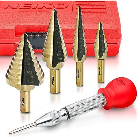 Gulakey Drill 3pcs Nitrogen Step Drill Bit Set 3//16-1//2 1//4-3//4 3//16-7//8 Drill Accessories