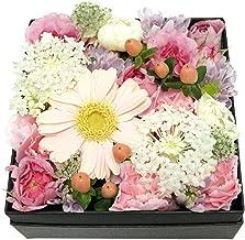 BOXアレンジメント・スクエアー・ピンク×ホワイト【生花アレンジメント・誕生日・記念日・御祝・母の日など】