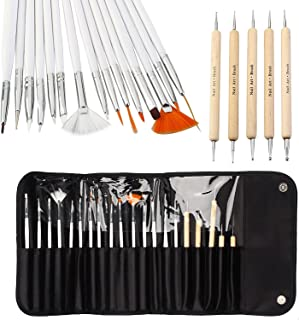 Vishine 20pcs Nail Art Design Brush Set Painting Dotting Detailing Pen Brushes Bundle Tool Kit Set with Roll-Up Pouch-Professional Nail Art Supplies