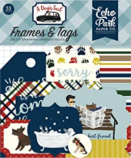 Echo Park Paper Company ADT155025 A A Dog's Tail Frames & Tags Paper Die Cut, Multicolor