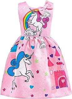 Lito Angels Abito Estivo Unicorno per Bambina, Vestito Casual da Festa di Compleanno e Halloween, Taglia 5-6 Anni, Rosa B