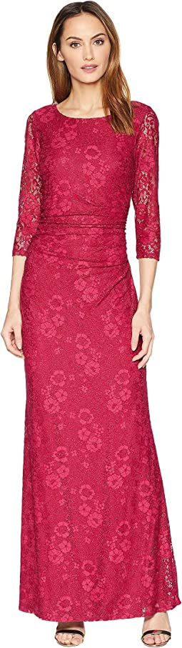 Long Sleeve Glitter Lace Dress with V Draped Back and Side Shirring