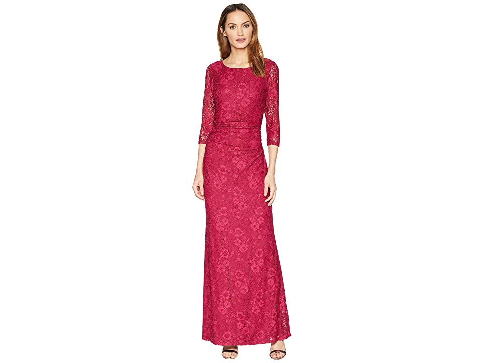 MARINA Long Sleeve Glitter Lace Dress with V Draped Back and Side Shirring (Ruby) Women