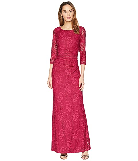 MARINA Long Sleeve Glitter Lace Dress With V Drapped Back And Side Shirring, Ruby