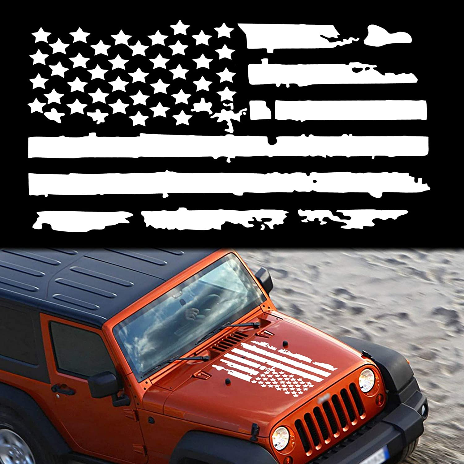 TOMALL 23.6'' American Flag Distressed Decal Hood F for Auto Cheap Sacramento Mall super special price USA