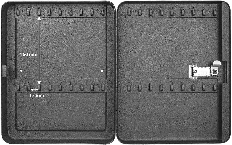 banjado Burg-W/ächter abschlie/ßbarer Schl/üsselkasten mit Motiv Little Things f/ür 20 Schl/üssel Stahlblech schwarz 20x16x7,4cm gro/ß Schl/üsselbox mit Zahlenschloss