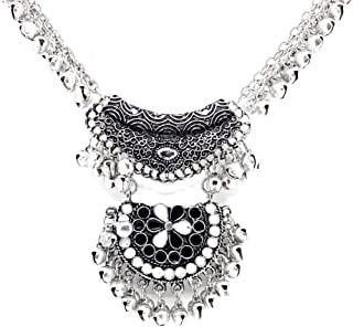 Bollywood Style Ghungroo Silver Plated Necklace Stylish India/Pakistan Afgani Necklace for Women/Girls