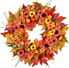 18inch Silk Fall Wreath Front Door Wreath with Maple Leaf,Pumpkin, Berries Wreath for Halloween and Thanksgiving Decor
