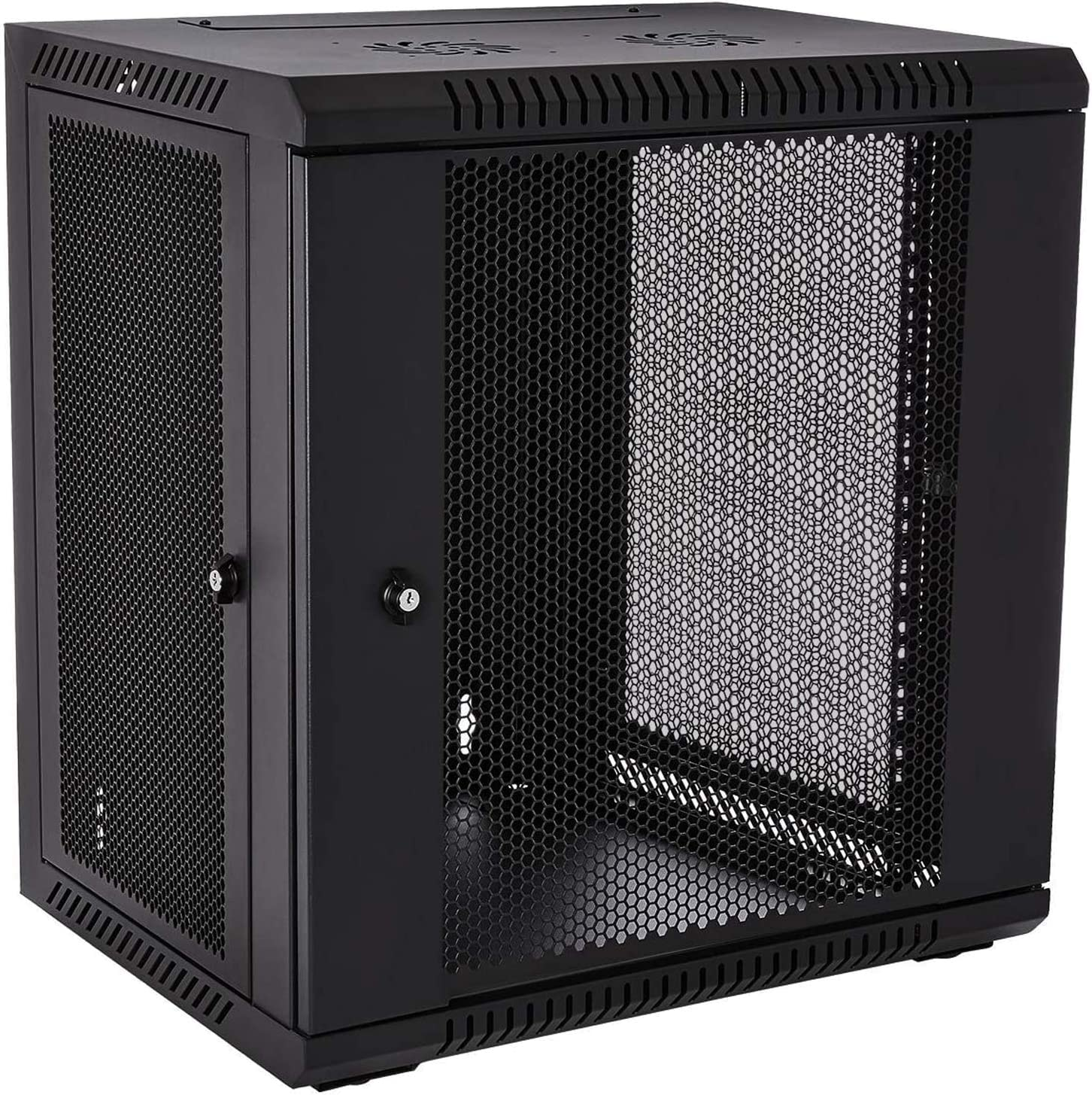 1 Set of 12U Network Server Data Cabinet Black Rack Perforated Door Lock,Apply to Network Wiring Room,Computer Room,Data Room,Control Center,Home,Office,etc.